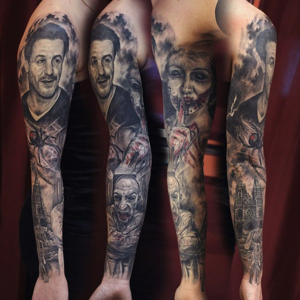 Scar face Girl and Guy tattoo sleeve
