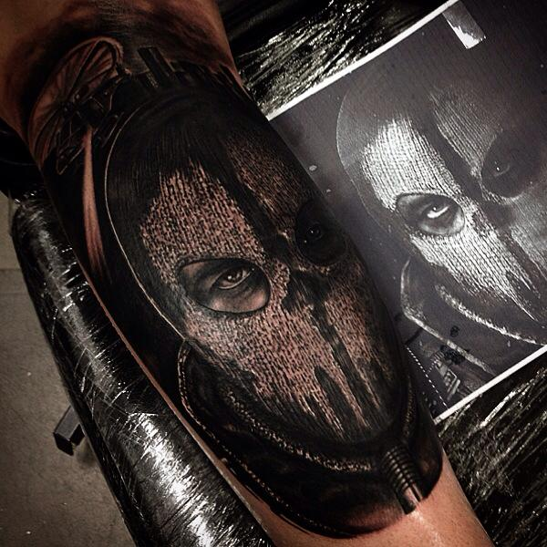 Scary Mask Realistic tattoo by Drew Apicture
