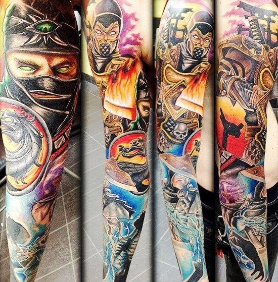Scorpion and Raden Mortal Kombat tattoo sleeve