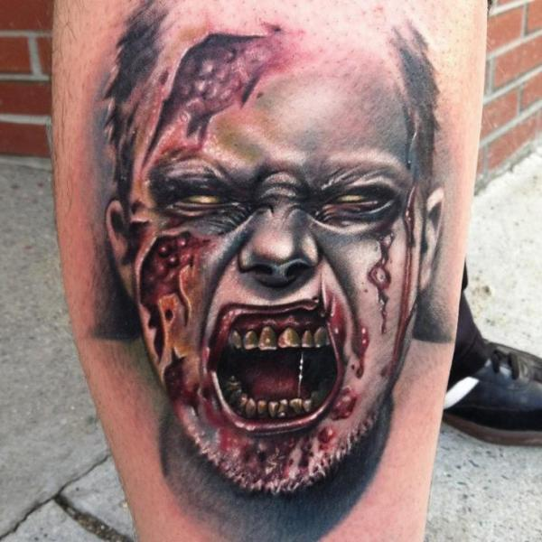 Screaming Zombie tattoo by Johnny Smith Art