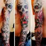Skull Behind Mask Dragon tattoo sleeve
