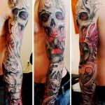 Skull Behind Mask Dragon tattoo sleeve