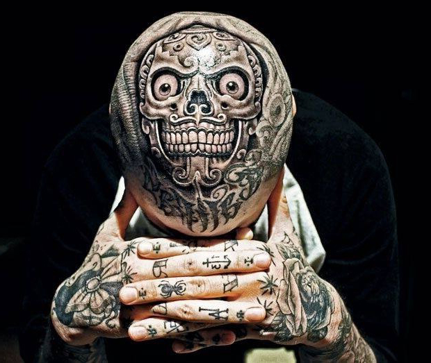 Scull Chicano Head tattoo