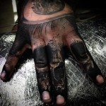 Skull Fingers tattoo by Drew Apicture