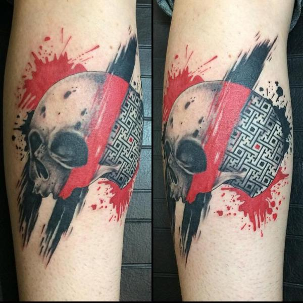 Scull Labyrinth Trash Polka tattoo by Last Angels Tattoo