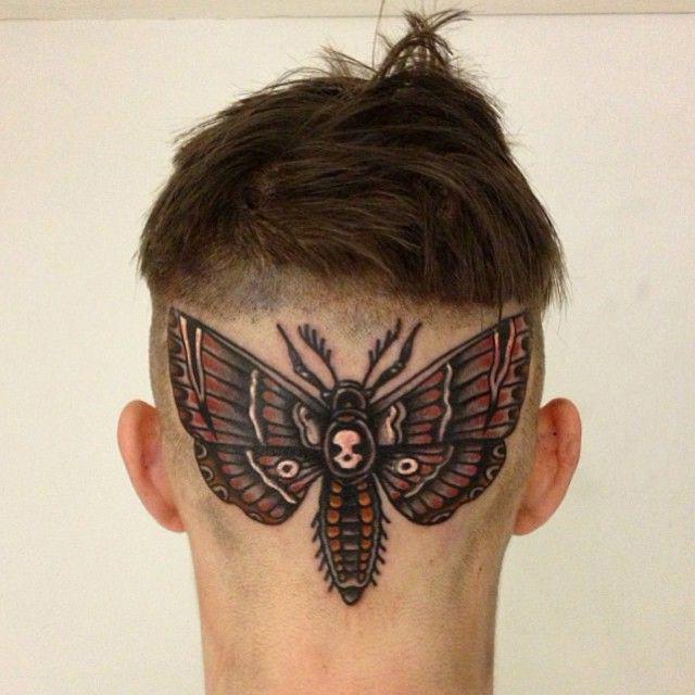 Skull Moth Head tattoo
