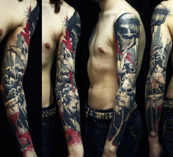 Skull Sleeve Trash Polka tattoo