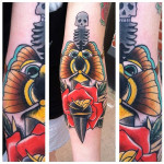 Skull Spine Dagger Old School tattoo by Last Angels Tattoo