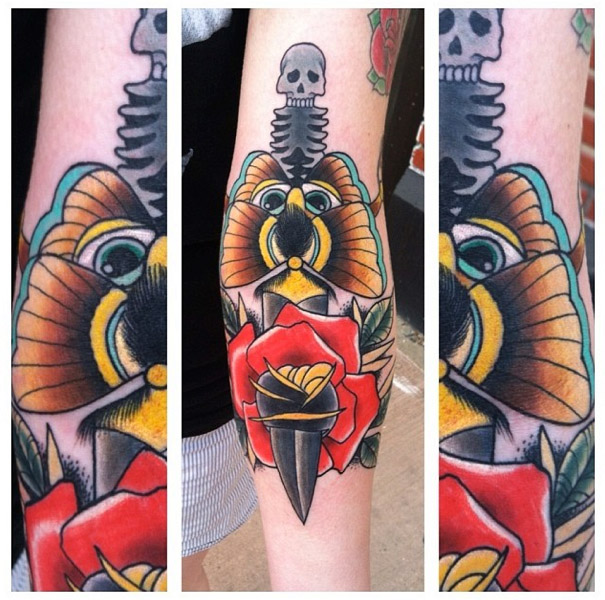 Scull Spine Dagger Old School tattoo by Last Angels Tattoo