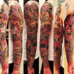 Skull and Tiger Red and Black tattoo sleeve