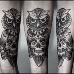 Skull body Owl Dotwork tattoo by White Rabbit Tattoo