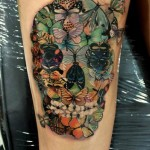 Skull of Butterflies tattoo by Led Coult