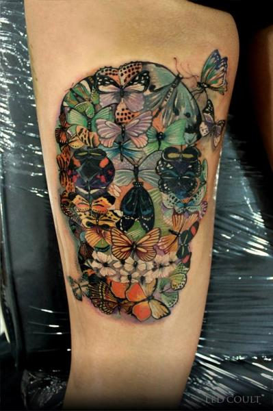 Scull of Butterflies tattoo by Led Coult