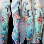 Sea World Dolphines tattoo sleeve
