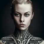 Serious Look Neck and Shoulders Tribal tattoo