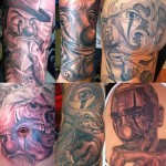 Several Clowns Chicano tattoo