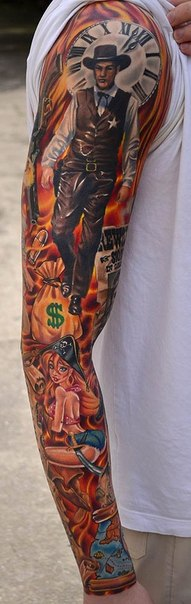 Sheriff and Pirate Girl tattoo sleeve