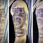 Shine Heart Owl Graphic tattoo idea