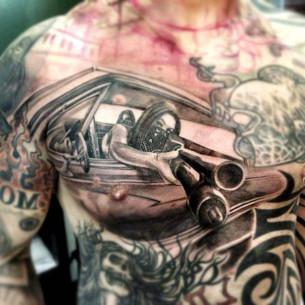 Shotgun Girl Gang Chicano tattoo