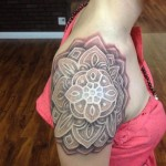 Shoulder Girl Mandala Dotwork tattoo by Anthony Ortega