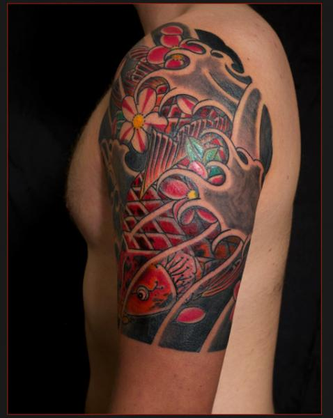 Shoulder Japanese Carp tattoo by Chapel tattoo