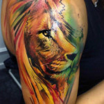 Shoulder Lion Aquarelle tattoo by Adam Kremer