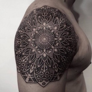 Shoulder Mandala Dotwork tattoo by Chopstick Tattoo