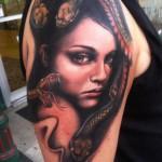 Shoulder Snake Hair Girl tattoo by Johnny Smith Art