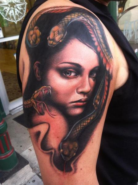 Shoulder Snake Hair Girl tattoo by Johnny Smith Art