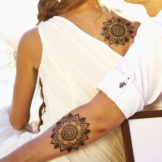 Shoulder and Hand Mandala Couple tattoo