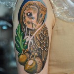 Shy Owl New School tattoo