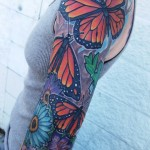 Simple Red Wings Butterflies tattoo sleeve