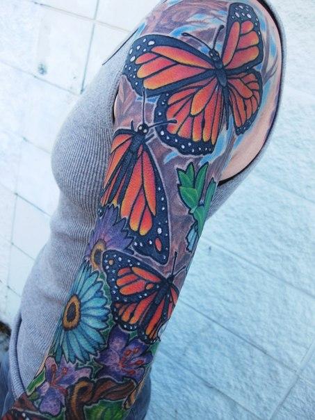 Simple Red Wings Butterflies tattoo sleeve