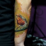 Singing Bird on a Brunch tattoo by Led Coult