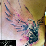 Sitting Angel Aquarelle tattoo by Adam Kremer