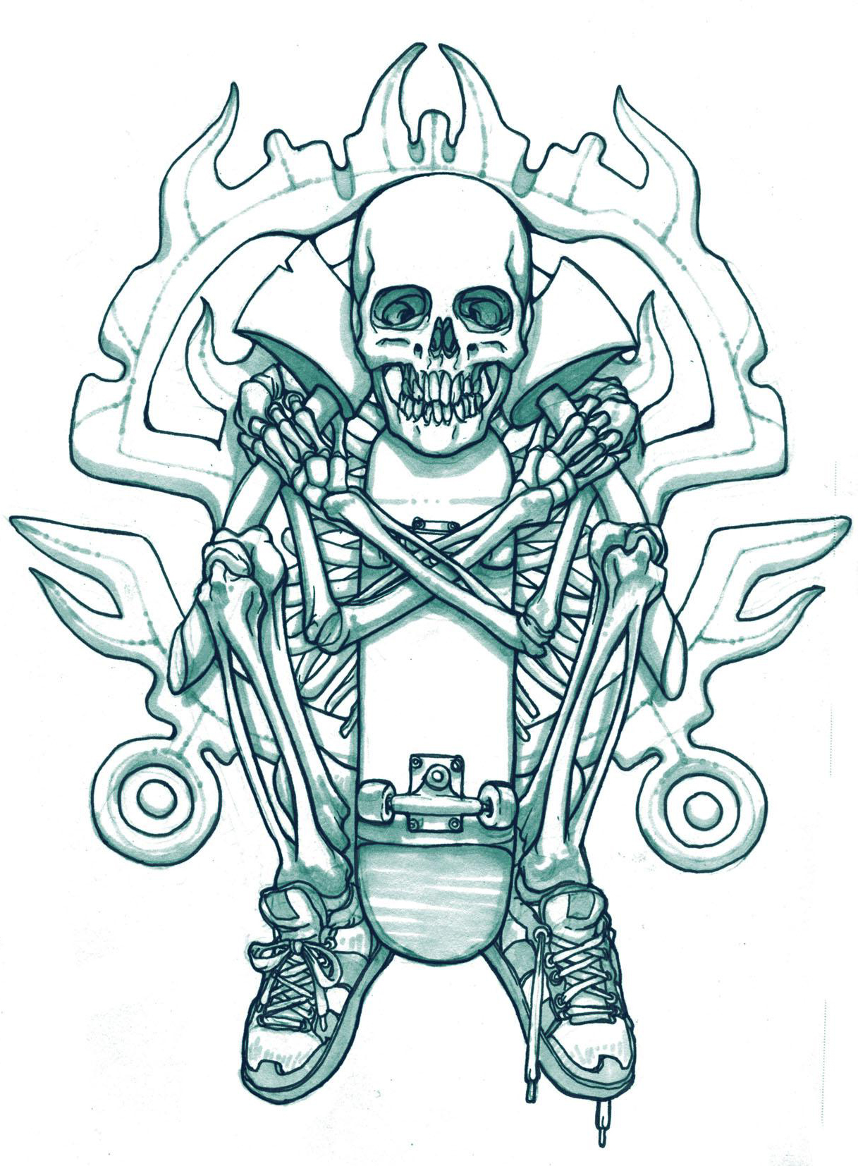 Skateboard Skeleton tattoo sketch