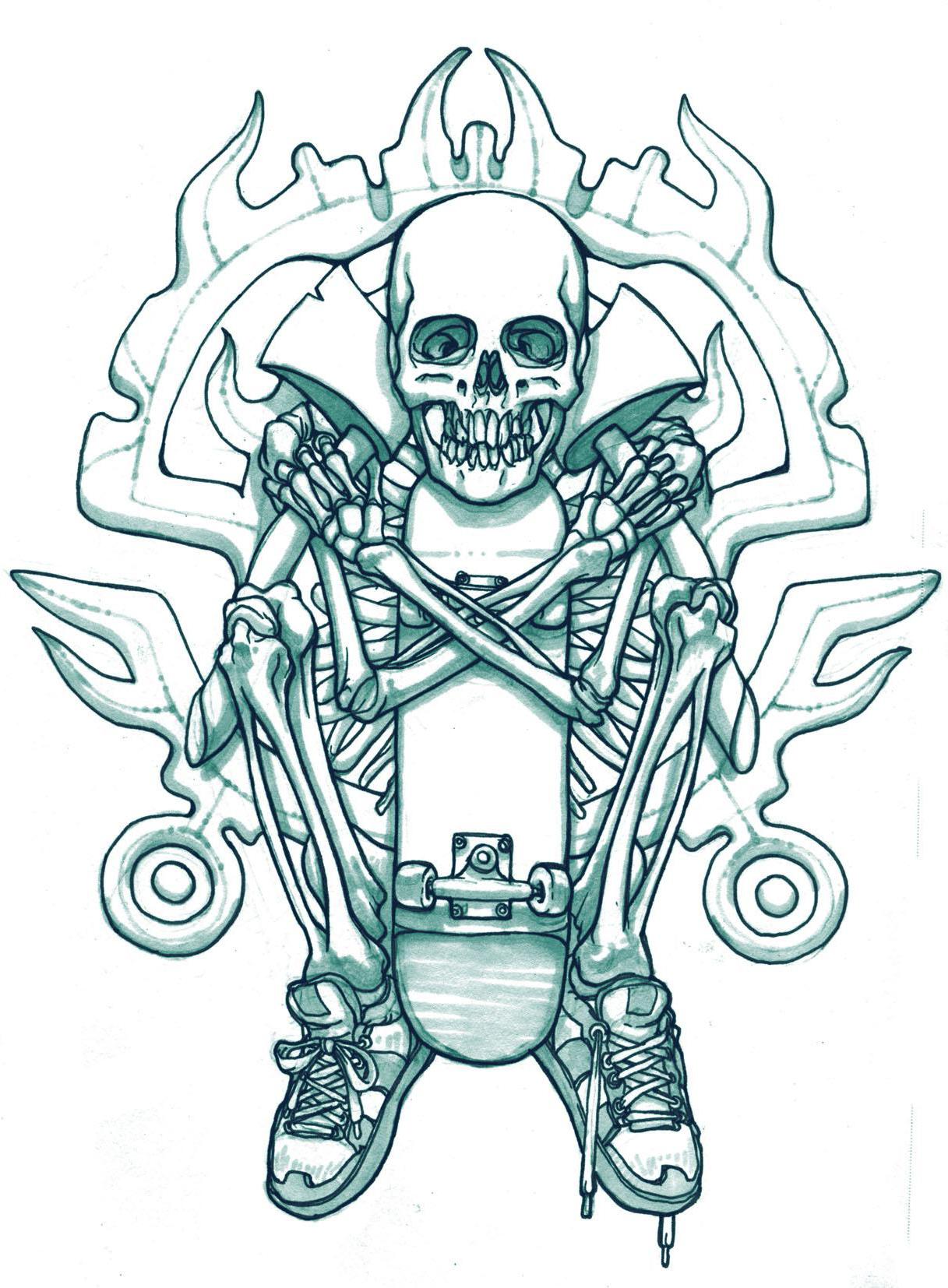 Skateboard Skeleton tattoo sketch