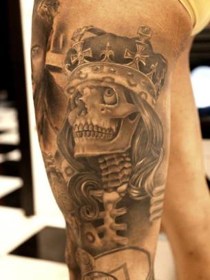 Skeleton King Chicano tattoo