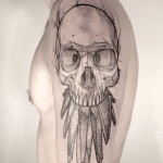 Sketchy Crystal Teeth Skull tattoo by Jan Mràz