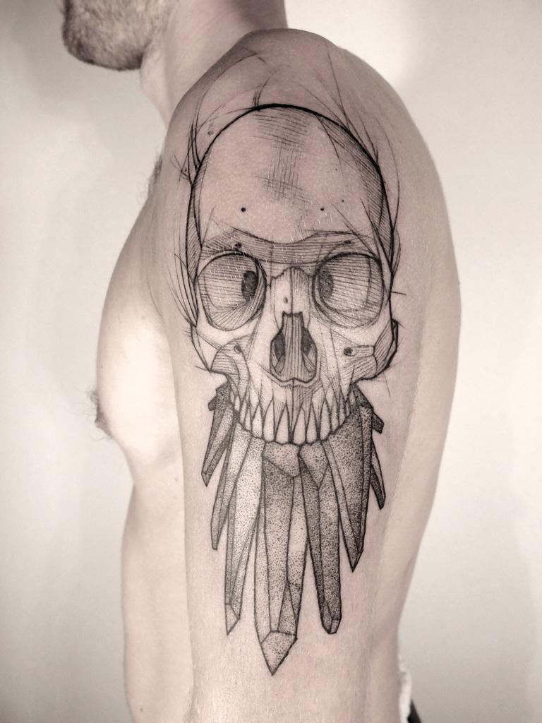 Sketchy Crystal Teeth Scull tattoo by Jan Mràz