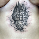 Sky Castle Dotwork tattoo by Jan Mràz