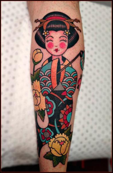 Smiling Geisha tattoo by Chapel tattoo