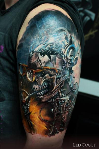 Smoking Robo Skeleton tattoo by Led Coult