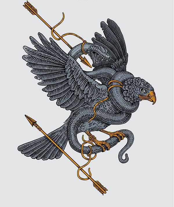 Snake And Eagle hunting tattoo sketch