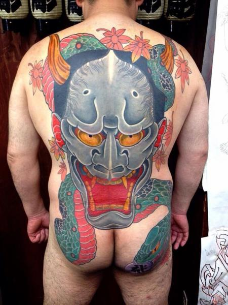 Snake and Demon Mask Hannya tattoo on Back by Chopstick Tattoo
