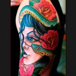 Snake and Roses Girl tattoo by Chapel tattoo