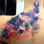 Snuggle Kitty Aquarelle tattoo by Adam Kremer