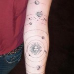 Solar System Etching Graphic tattoo idea