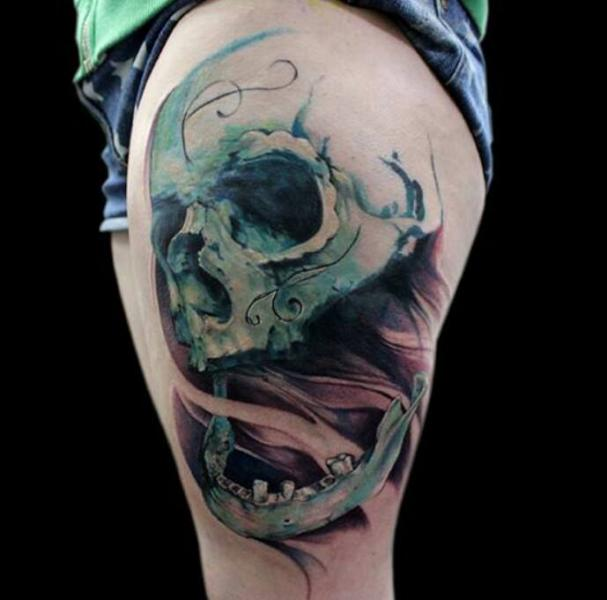 Soul Leaving Scull tattoo by Jak Connolly