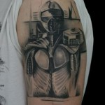 Space Suit Graphic tattoo by Black Ink Studio